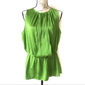 Vince Camuto Sleeveless Rushed Green Blouse Top L